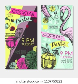 Cocktail Party invitation with cocktails and flamingo. Flyer or poster design with cocktail glass on purple and blue background. Vector illustration