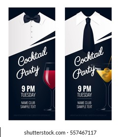 Cocktail Party invitation. Flyer or poster design with cocktail glass on black background. Vector illustration