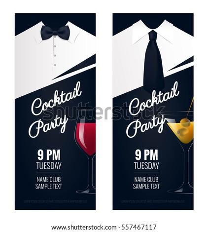 Cocktail Party Invitation Flyer Poster Design Image Vectorielle De