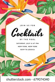 Cocktail Party Invitation with Tropical Theme. Tropical Cocktail Invitation Card