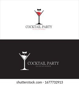 Cocktail Party Logo in Vector