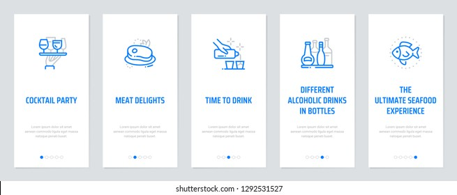 Cocktail party, Meat Delights, Time to drink, Different alcoholic drinks in bottles, The ultimate seafood experience Vertical Cards with strong metaphors. Template for website design.
