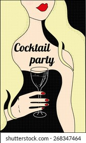 Cocktail party poster with blonde girl