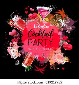 Cocktail party poster design. Cocktail menu. Valentine`s day