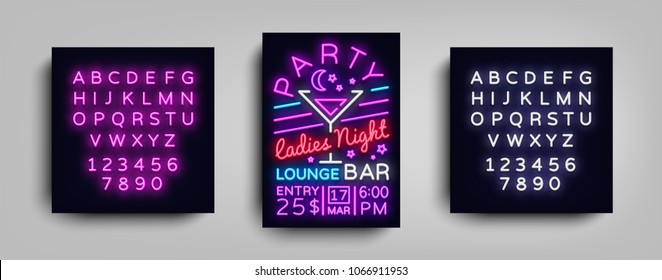 Cocktail Party poster neon. Flyer template design in neon style. Ladies Night Cocktail Party Dance Invitations, Light Banner, Bright Brochure Nightlife. Vector illustration. Editing text neon sign