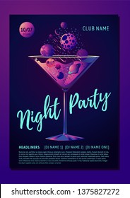 Cocktail party poster for a night club. Futuristic neon style illustration with planet and glass. Invitation template.