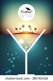 Cocktail Party Retro Poster Design with Tropical Island - Vector Illustration