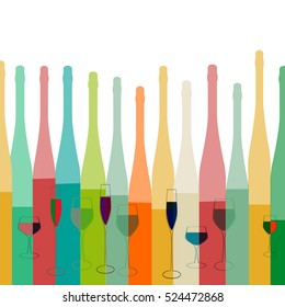 Cocktail Party Vector.Alcoholic Bottles Background.Bar Menu Ilustration.Suitable for Poster.Invitation Card with Glasses.Wine List Design.