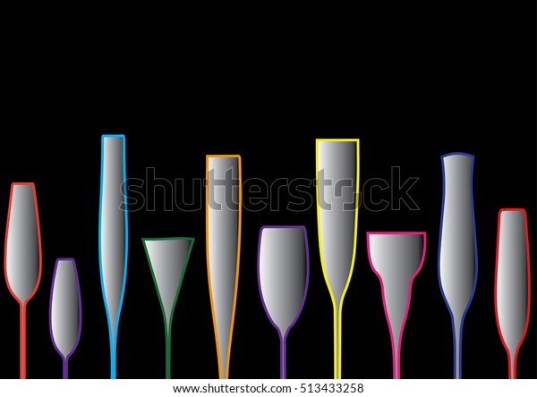 Cocktail Party Vectoralcoholic Bottles Background Menu Stock