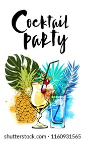 Cocktail party. Watercolor vector background