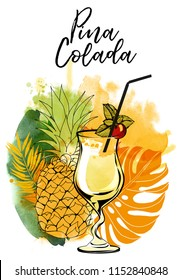 Cocktail Pina Colada. Watercolor vector background