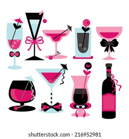 Cocktail. Pink, turquoise, and black.