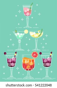 Cocktail pyramid in line art style. Different types of cocktail glasses and cocktail presentation. Christmas, New Year, Birth Day cocktail party.