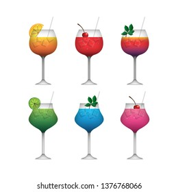 Cocktail realistic decorative icons set with margarita mojito bloody mary isolated vector illustration