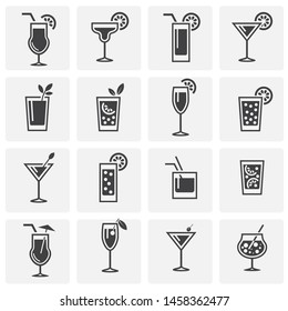 Cocktail related icons set on background for graphic and web design. Simple illustration. Internet concept symbol for website button or mobile app.