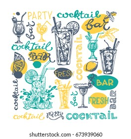 Cocktail set. Elements for the graphic design of the menu bars, restaurants, invitations, announcements. Hand drawn sketch set of alcoholic cocktails. Vintage vector illustration