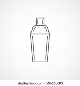 Cocktail Shaker Line Icon On White Background