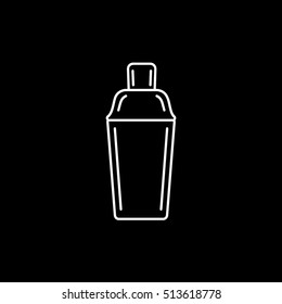 Cocktail Shaker Line Icon On Black Background