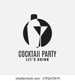 Cocktail shaker with cocktail martini glass logo on white background