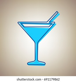 Cocktail sign illustration. Vector. Sky blue icon with defected blue contour on beige background.