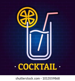 Cocktail signboard logo. Flat illustration of cocktail signboard vector logo for web
