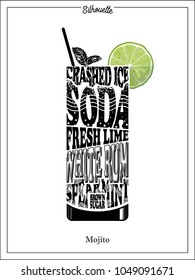 cocktail Silhouette Mojito,simple recipe, vector illustration of a clipart typography,accent color