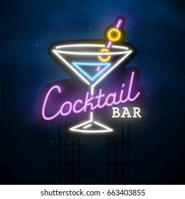 Cocktail sing. City sign neon. Logo, emblem, neon sign, bright signboard, light banner.