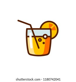 Cocktail with straw and slice of citrus fruit icon. Alcoholic beverage label for bars, pubs, menus. Summer refreshing drink emblem. Color pictogram. Vector illustration isolated