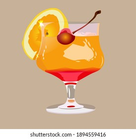 Cocktail Tequila sunrise with a slice of lemon and ice