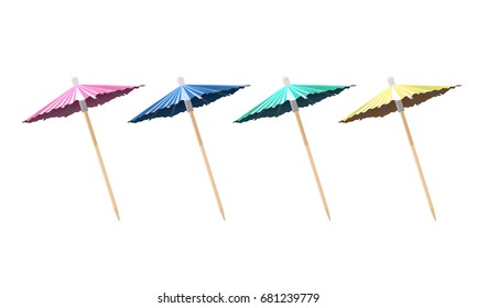 cocktail umbrella realistic set isolated on white background