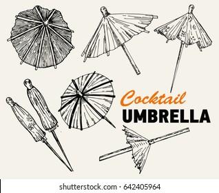 Cocktail umbrella. Cocktail umbrella sketch set.