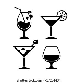 Cocktail vector eps icon isolated on white background