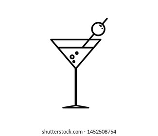 Cocktail vector icon black line style