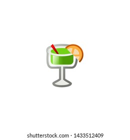 Cocktail Vector Icon. Isolated Cocktail Drink Emoji, Emoticon, Illustration