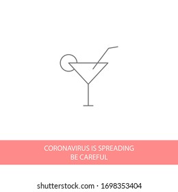 cocktail vector icon line linear style on the background. Best icon 10 eps illustration