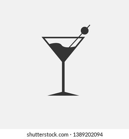 Cocktail vector icon solid grey
