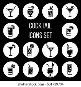 Cocktail vector icons set in black and white
