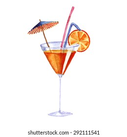 cocktail. Vector watercolor painting on white background isolated on the white background. excellent vector illustration, EPS 10