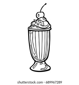 Cocktail with whipped cream and cherry. Black and white hand drawn sketch icon on white background. Vector EPS 10 illustration.