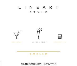 Cocktail wineglass set vector icon style line art. Monogram emblem element design style linear