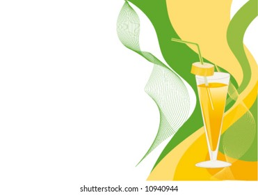 Cocktail yellow and green card with glass.