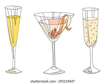 Cocktails. 3 cocktail glasses.Mimosa cocktail, Cosmopolitan cocktail, Champagne.