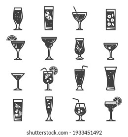 Cocktails assortment bold black silhouette icons set isolated on white. Summer beverage in glass cup with straw, lemon slice, ice cubes pictograms collection, logos. Drinks vector elements for web.
