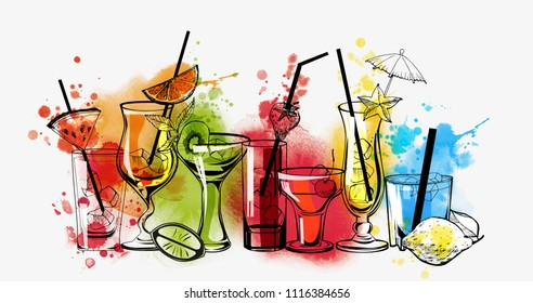 Cocktails banner. Watercolor vector cocktails.