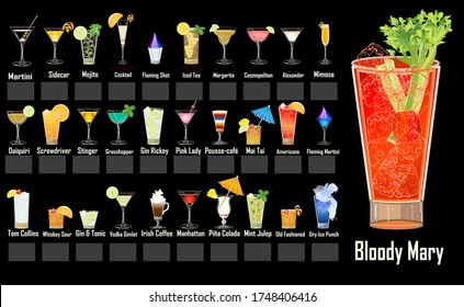 Cocktails and Beverages Menu - 31 Different mixed drinks
