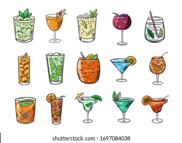 Cocktails big set. Cartoon flat colorful vector illustration. Isolated on white background. Design for your menu, blog, card, poster, banner and t-shirt.