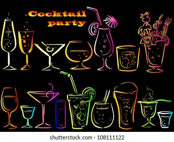 Cocktails, cocktail glasses set, cocktail party icons, hand drawn