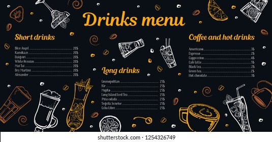 Cocktails, coffee and hot drinks menu design template with list of drinks and images. Vector outline sketch hand drawn illustration with blackboard background for bar, cafe, and restaurant