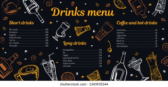 Cocktails, coffee and hot drinks menu design template with list of drinks and images of bottles, glasses and mugs. Vector outline sketch hand drawn illustration with blackboard background