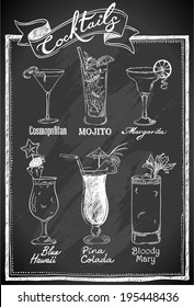 Cocktails collection on chalkboard
